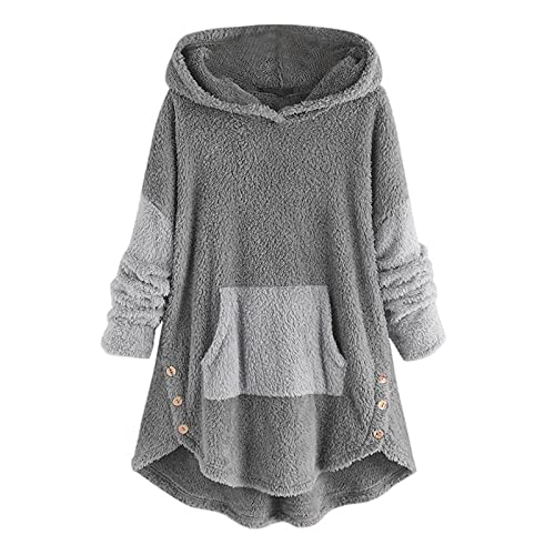 Wave166 Sudadera con capucha para mujer, para otoño e invierno, acolchada, de longitud media, con capucha, bolsillos y botones, gran tamaño, para invierno, ropa casera, pijamas, gris, XXL