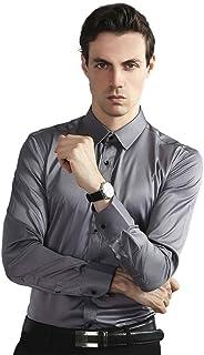 WallchauG Mens Dress Shirts, Bamboo Fiber Solid Color Long Sleeve Slim Casual Business Combination Button Shirt