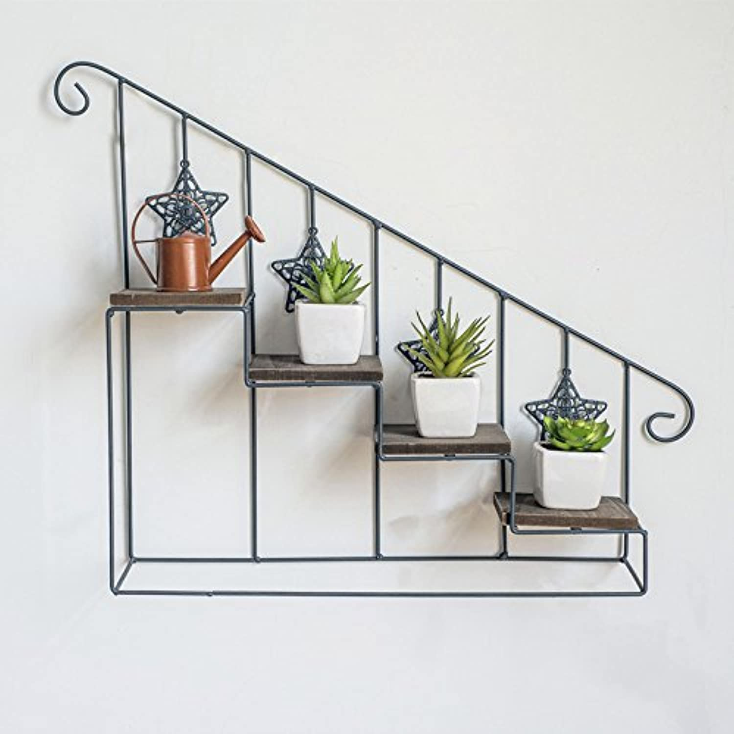 Wood Staircase Flower Stand Rack, Multi-Storey Floor-Style Wall-Mounted Flower Pot Rack, Indoor Living Room Small Pot Rack