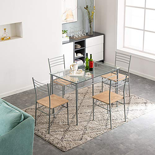 Bonnlo 5 Pieces Dining Table Set Tempered Glass Table and 4 Chairs Kitchen Dining Room Set for 4(Grey)