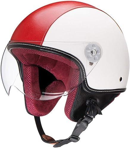 DTVX-Sports Casque Moto Jet Demi-Casque véhicule Semi électrique Demi-Casque Casque rétro Casque Homme et Femme Harley Quatre Saisons (2 Couleurs)
