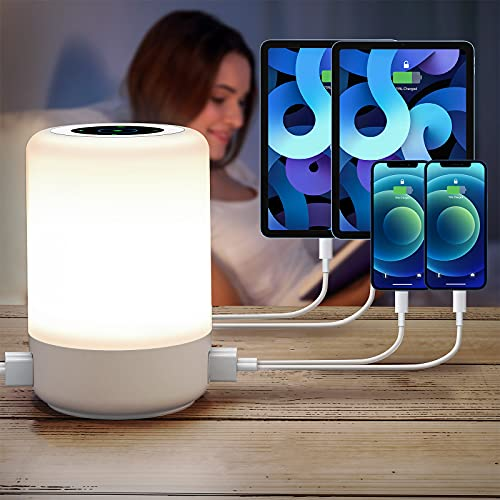 Bedside Lamp with USB Port, Touch Lamps for Bedrooms Living Room, 13 Colors RGB Dimming Lamp Timer Auto Off Touch Night Light, Best Christmas Birthday Gift for Kid and Adults