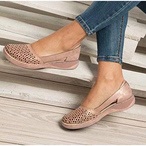 Sandali Donne di Estate Boemo Eleganti Comode Moda Chiuse Davanti Piatto Sandalo Scarpe rétro Anti-Scivolo Traspirante Sandali,Rosa,41