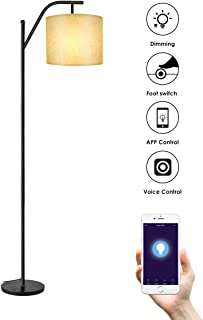 Lámparas de Pie WIFI, Wellwerks Lámpara de Salón INTELIGENTE Luz Regulable Control Remoto Compatible con Alexa y App de Movil para Hogar Estudio Dormitorio