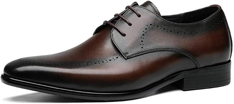 RSHENG Chaussures derby pour hommes, Chaussures de sport Oxford à lacets fait main Semelle en caoutchouc Chaussures à bout rond Chaussures de bureau professionnelles, Goodyear Style classique