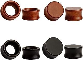 TBOSEN 8PCS Large Double Flared Brown Black Organic Wood Saddle Plugs Flesh Tunnels Stretching Punk Piercings Expanders Ear Gauges Set