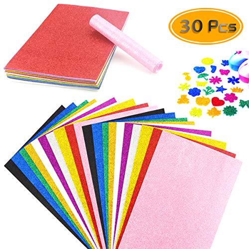 BcPowr 30 hojas de espuma de espuma EVA con purpurina, hojas de espuma de arcoíris para manualidades, esponjas para proyectos de manualidades, aulas, álbumes de recortes, fiestas...