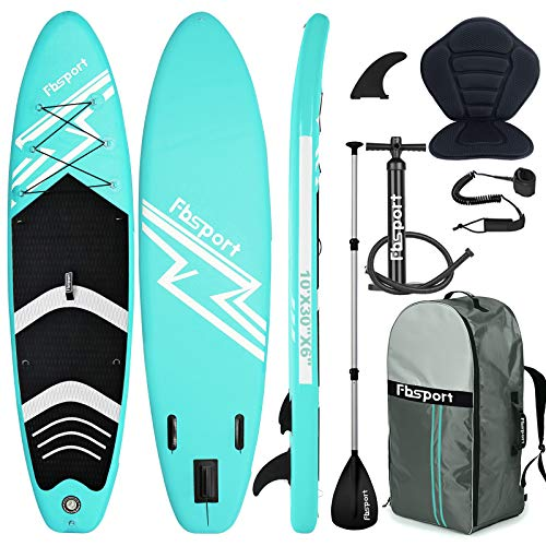 FBSPORT Tabla Sup Hinchable, Tabla de Surf Hinchable, Tabla Inflable de Paddle Surf, Sup Kit con Remo de Aluminio, Asiento de Kayak+Accesorios Completos | Medidas: 300×76×15cm