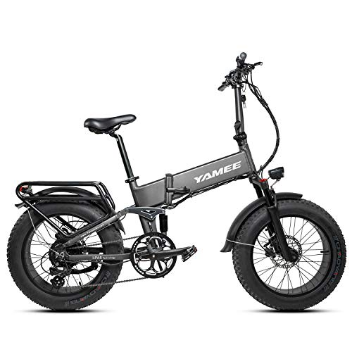 I·PAS Yamee Ebike Electric Mountain Bikes Rattan Fat Bear Full Suspension Fat Tire Snow Tyre 48V 750W Motor 8 Speed 14.5 Ah Lithium Battery Foldable Electric Bike Adults Assisted EBike (Gray)