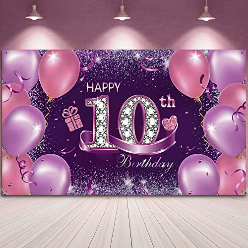 Happy Birthday Party Decorations, Large Fabric Pink Purple Happy 10th Anniversary Birthday Sign Banner Photo Booth Backdrop Background with Rope for Girls Birthday Party Favor, 72.8 x 43.3 Inch