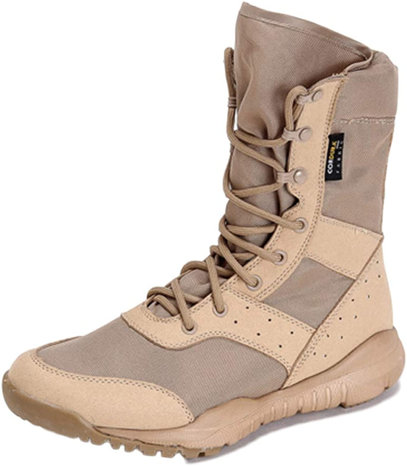 Snfgoij Tactical Boots Men Sand Patrol Breathable Lightweight Outdoor Military Boots Mountaineering Wear-Resistant High-top