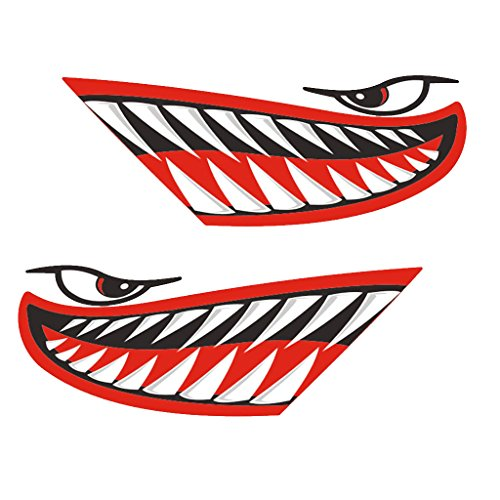 Fenteer 2 Pieces Vinyl Large Cartoon Shark Teeth Mouth Decals Stickers Graphics for Kayak Canoe Fishing Boat Rowboat Dinghy Jet Ski Airplane Car Truck Van Motorcycle - Various Color - Red