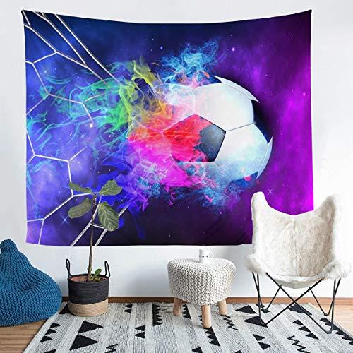 Tapiz para colgar en la pared con diseño de balón de fútbol 3D para niños y niñas, tapiz de pared para juegos competitivos, decoración de pared para dormitorio, sala de estar, grande 132 x 192 cm