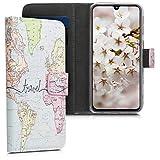 kwmobile Hülle kompatibel mit Samsung Galaxy A40 - Kunstleder Wallet Hülle mit Kartenfächern Stand Travel Schriftzug Schwarz Mehrfarbig