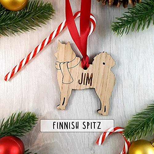 None-brands 2020 Weihnachtsbaum, Andenken, personalisierbar, nachhaltiges Eichenholz, Hunde-Dekoration – Weihnachtsbaumkugel Geschenk – Finnischer Spitz | niedliches Weihnachtsornament Geschenke