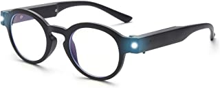 OuShiun Reading Glasses with Light Bright LED Readers Blue Light Blocking Anti Eyestrain Round Eyeglasses USB Rechargeable Lighted Nighttime Clear Vision Unisex (Black, 2.5)