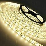 Arotelicht 24V Ruban LED 5M Flexible 300leds 5050SMD Blanc Chaud 3000K Bande Strip Lumineuse Décoration interieur pour Festival,...