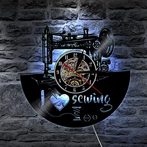 YZJYB Máquina De Coser Reloj De Pared Silencioso con Registro De Vinilo Reloj De Cuarzo De 30Cm Diseño Moderno Apto para Decorar Hogar Luz LED