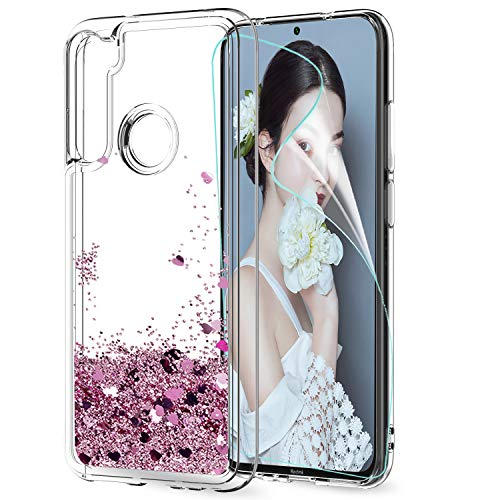 LeYi for Xiaomi Redmi Note 8T Case with Screen Protector, Girl 3D Clear Glitter Crystal Quicksand Cute Personalised Silicone Gel TPU Shockproof Hard Phone Cover for Xiaomi Redmi Note 8T Rose Gold