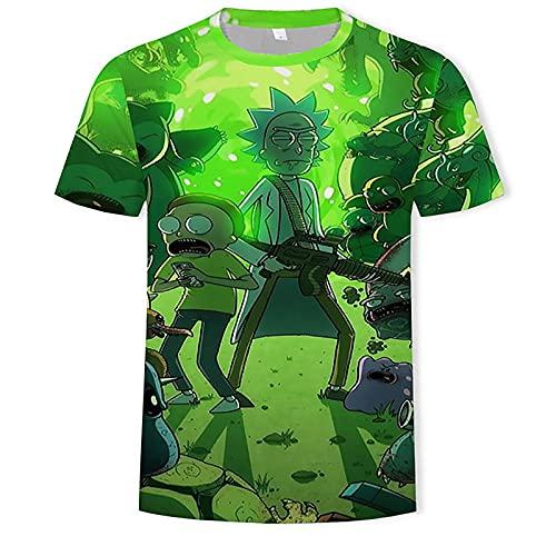 YUYUBAOER Men's Rick and Morty 3D Printer T-shirt, Big Boy Short Sleeve Tops Crew Neck Tee Shirts Vest Casual Loungewear, 2XS-4XL 4-M