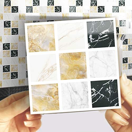 EasyLife - 40 adhesivos para azulejos de pared para decoración del hogar, 10 x 10 cm, impermeables, autoadhesivos, adhesivos para azulejos para cocina y baño(Set 2)