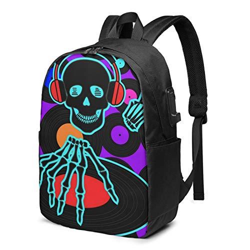 Laptop Backpack with USB Port Music Dj Skull, Business Travel Bag, College School Computer Rucksack Bag for Men Women 17 Inch Laptop Notebook