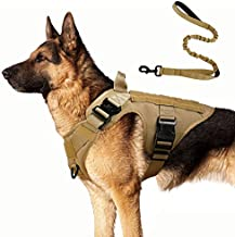 """rabbitgoo Tactical Dog Harness and Bungee Dog Leash Set for Large Medium Dogs, Molle Vest for Service & Training Military Dogs Adjustable Training Hunting Dog Tactical Vest, Tan, L, Chest (31.5-41.3"""")"""