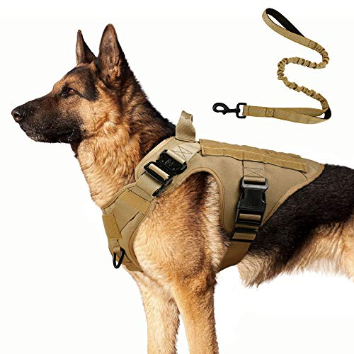 "rabbitgoo Tactical Dog Harness and Bungee Dog Leash Set for Large Medium Dogs, Molle Vest for Service & Training Military Dogs Adjustable Training Hunting Dog Tactical Vest, Tan, M,Chest (25.4-36.0"")"