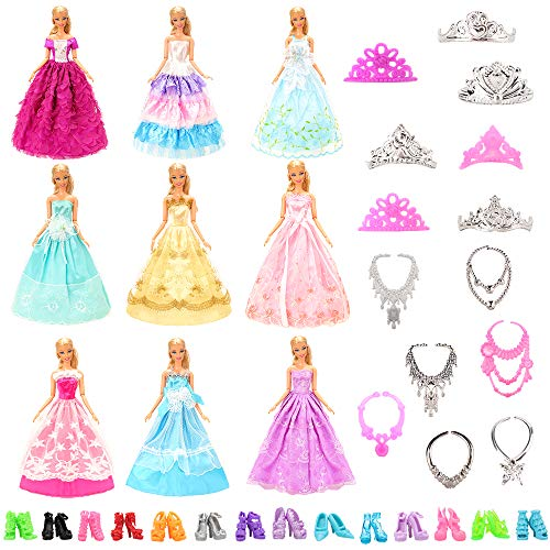 Miunana Lot 27 Handmade Modisch Hochzeit Party Abendkleider = 10 Kleider + 5 Schuhe + 6 Ketten + 6 Kronen für Puppen
