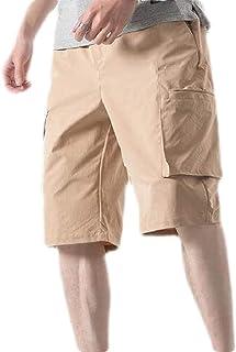 Loyomobak Men Outdoor Loose Multi-Pockets Big & Tall Beach Cargo Shorts