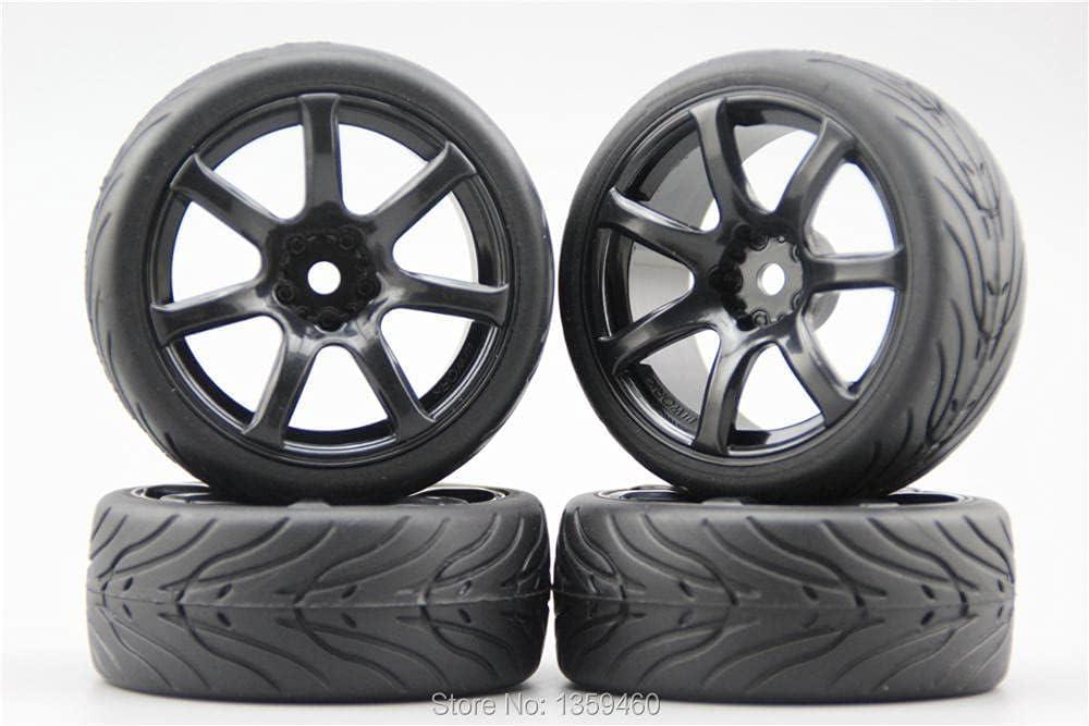 GzxLaY 4pcs 1 10 Soft Rubber On Tire Car Road Tyre Rim Wheel Low price Bargain W7S