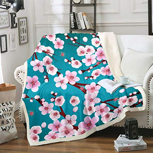 Cherry Blossoms Sherpa Blanket Pink Floral Printed Fleece Throw Blanket for Kids Women Adults Botanical Branches Plush Blanket Plants Nature Fuzzy Blanket for Sofa Bed Couch,Twin 60x80 Inch