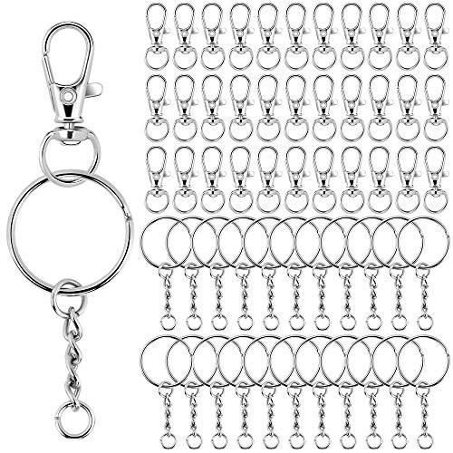 Schlüsselanhänger Kette Drehverschlüsse Karabiner 70 Stück Schlüsselring mit 70 Stück Karabinerverschluss,Split Schlüsselringe Schwenk Karabinerhaken Haken Schlüsselring Zinklegierung