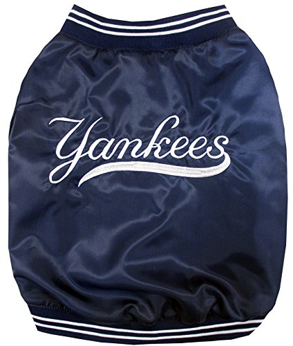 MLB New York Yankees Dugout Jacket for Dogs & Cats, Small. - Warm, Team Color & Logo with Velcro Closure