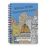 Livre de coloriage pour adultes avec les 50 meilleures villes du monde | Papier très épais | Album illustré avec des impressions fabuleuses et réelles