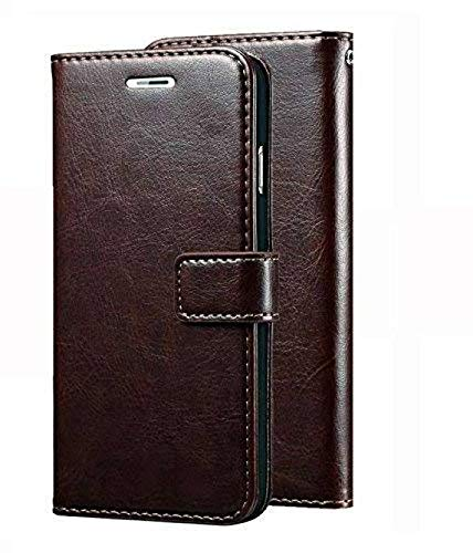 SESS XUSIVE Leather Wallet Flip Book Cover Case for Vivo V7 Plus -Coffee