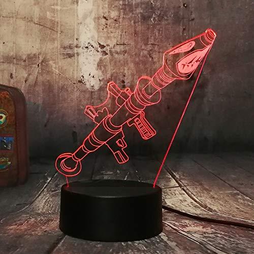 Nur 1 Stück Rocket Launcher Waffe Schreibtischlampe 3D LED 7 Farben Luminous Light Boy Kinder Weihnachtslicht
