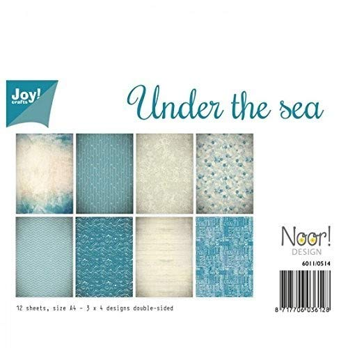 Vreugde!Crafts Karton dubbelzijdig A4-Under The Sea-12 Vellen, Doos, Blauw, 29,7 x 21 x 0,05 cm