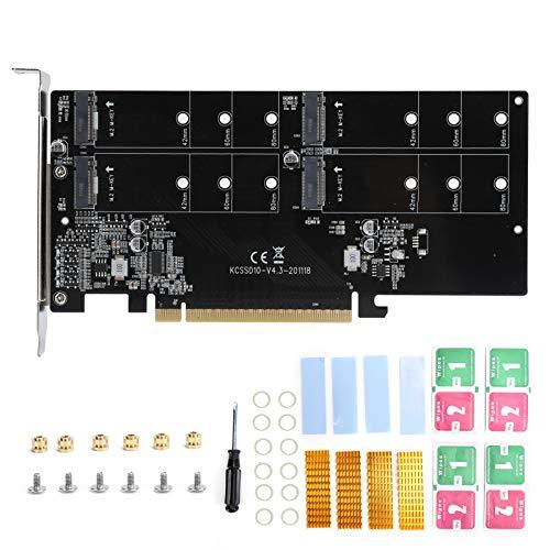 fasient1 PCIE M.2-Adapterkarte, PCIe X16 Bis M.2 NVME Kcssd10 Hochgeschwindigkeits-SSD-Erweiterungskarte mit Kühler, 4-Bay-SSD-Array, Unterstützung 2242/2260/2280 Solid State Hard Disk