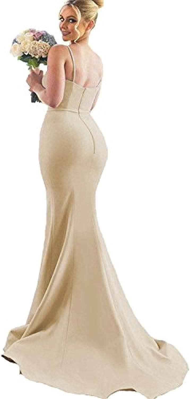 Marirobe Women's Mermaid Split Bridesmaid Dresses Sleeveless Sweetheart Wedding Dress Strap Evening Dress