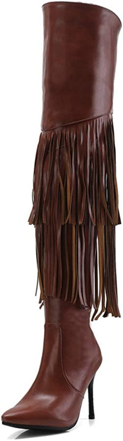 Webb Perkin Women Pointed Toe Autumn Winter Boots Fringe Fashion Party Thigh High shoes Over The Knee Boots