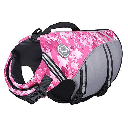 VIVAGLORY Schwimmweste für Hunde, Neue Sportstil Ripstop Rettungsweste Hund mit überlegenem Auftriebs und Rettungsgriff, Camo Rosa L