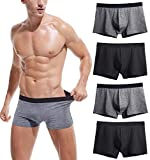 Robesbon Men's No Ride-up Boxer Briefs Stretch Comfortable Breathable Cotton Underwear 4 Pack Small