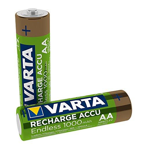 VARTA Recharge Akku Endless, wiederaufladbar - bis zu 3500 Aufladungen, geringe Selbstentladung, Ready-To-Use vorgeladener AA Micro Ni-MH Akku (2er Pack, 1000mAh) - wiederaufladbar ohne Memory Effekt