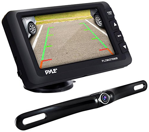 Pyle Upgraded Wireless Backup Camera and Monitor Kit - Vehicle Parking Reverse System IP67 Waterproof and Fog Resistant w/ 4.3'' LCD Screen and Tilt-Adjustable Dash Cam w/ Night Vision PLCM4378WIR