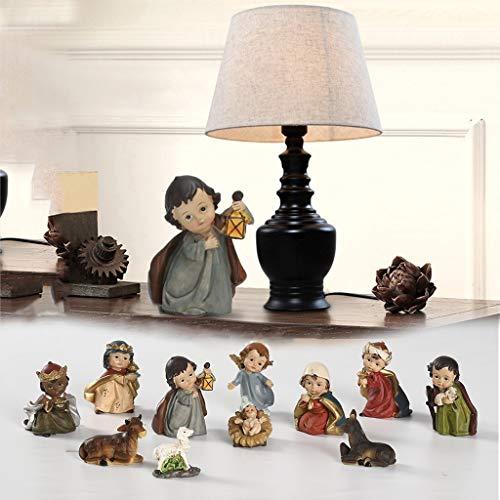 Resin Figures Ornaments for Home Desk,Elegant Profile Nativity Set, Includes Holy Family Resin Decorative Figure,11pcs Fall Decor