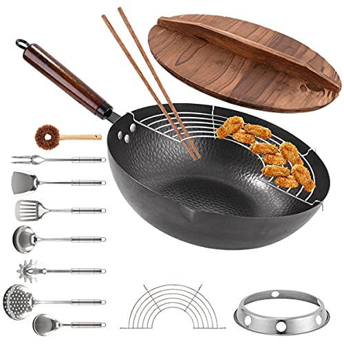 Carbon Steel Wok Pan, 13 PCS Wok Set 13' Stir Fry Pan with Wooden Lid & Handle Chinese Wok with Wok Utensils Cookware Accessories Suitable for All Stoves
