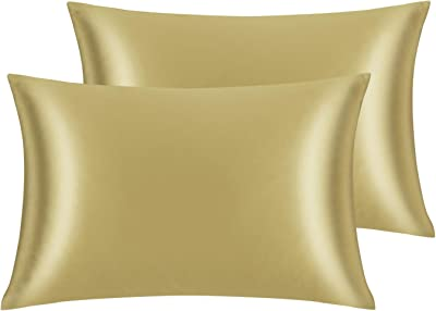 Wonwo Queen Size Satin Pillowcase for Hair and Skin, Silky Pillow Cover Protector Envelope Closure (Camel, 2 Pack)