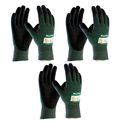 3 Pack MaxiFlex Cut 34-8743 Cut Resistant Nitrile Coated Work Gloves with Green Knit Shell and Premium Nitrile Coated Micro-Foam Grip on Palm & Fingers. Sizes S-XL (Large) by ATG