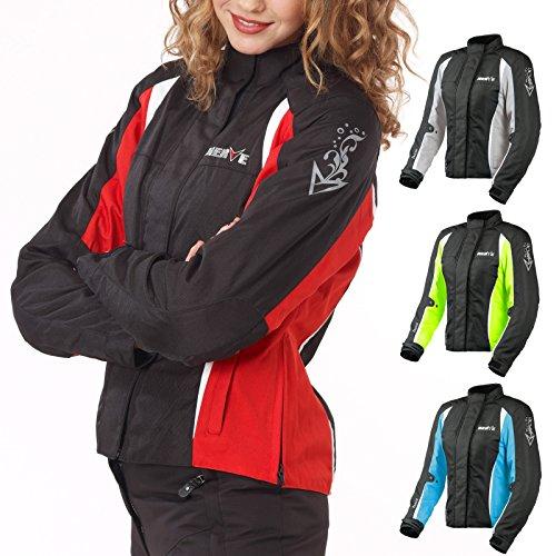 Motorradjacke -Unique-Motorrad Damen Wasserdicht Jacke mit Protektoren Sommer Winter Textil Frauen - schwarz-rot - 42